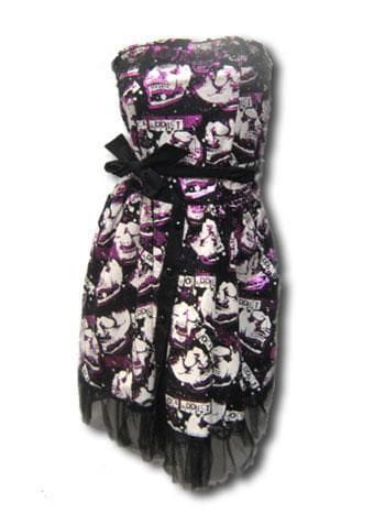 Skull Foil Kleid Black Pink Small Medium