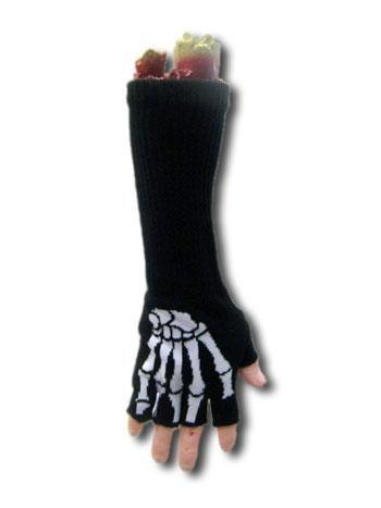 Lange fingerlose Skelett Handschuhe