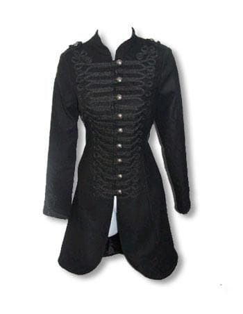 black Gothic Coat in Uniform Style XL