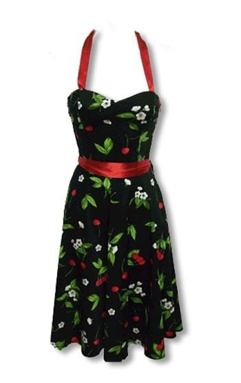 black summer dress with cherry print XL
