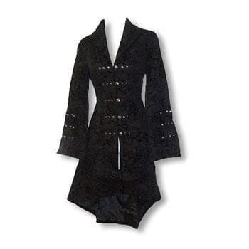 Gothic and Rockabilly Coat with Flock Print M