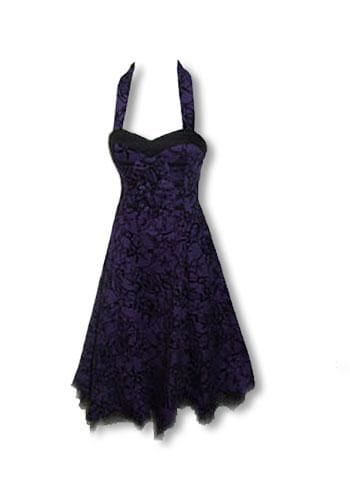 Rockabilly Dress Purple Black M