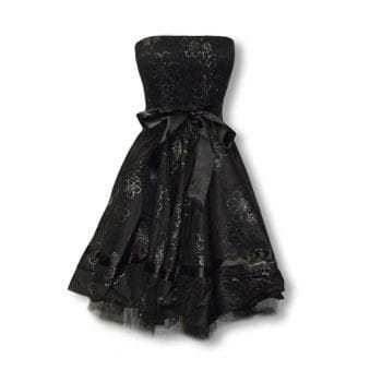 Black Evening Gown with Flower Print L