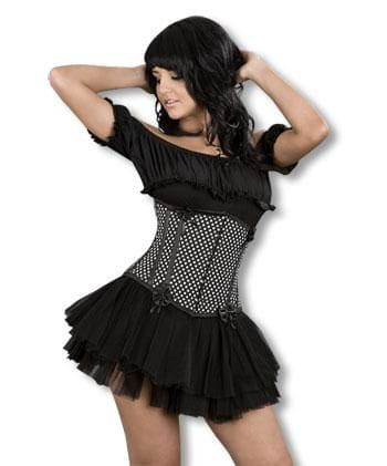 Black and White Polka Dot Underbust Corset M