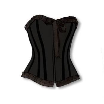 schwarzes Vollbrust Korsett mit Rüschen XL