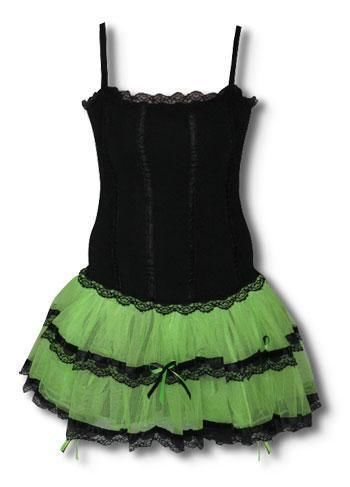 Minidress Black and Neon Green S