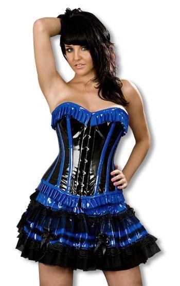 Vinyl corset black blue XL