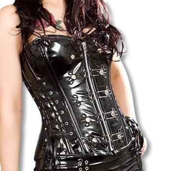 PVC overbust corset with gothic decorations XL