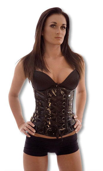 PVC Underbust Corset with Buckles XL