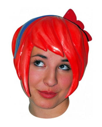 Anime wig with bow - Latex / Red