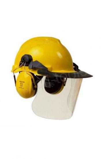 Bauhelm gelb mit Lärmschutz
