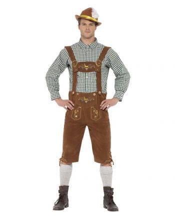 Bavarian lederhosen costume with checkered shirt