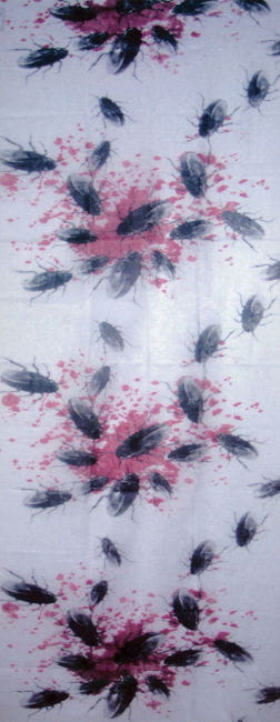 Bloody fabric with cockroaches