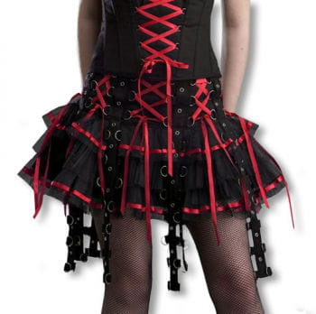 Bondage skirt with satin ribbons black-red