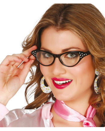 Brille 50er Retro Look schwarz