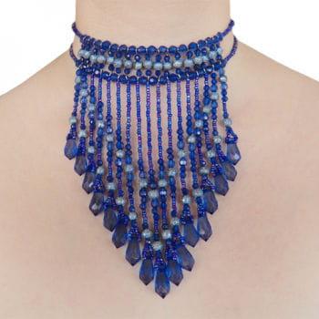 Collier mit Perlen blau