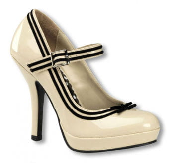 Cream-colored pumps with plateau