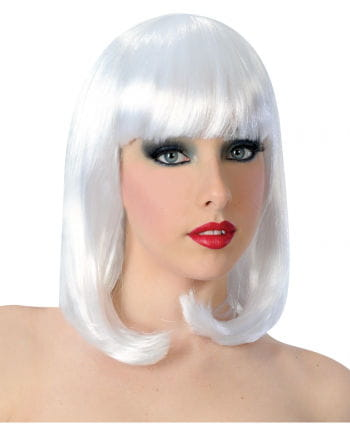Showgirl wig with fringe white
