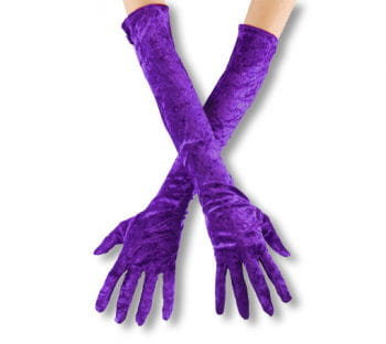 Violette, ellbogenlange Samthandschuhe