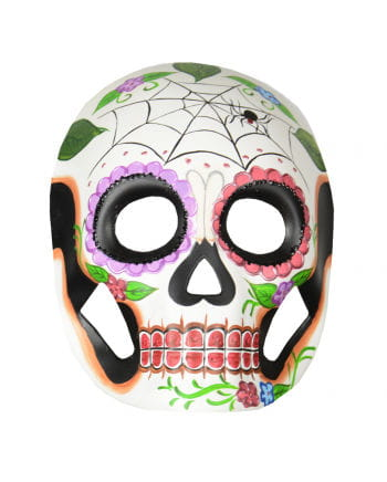 Day of the Dead Maske mit Blumen & Spinnennetz