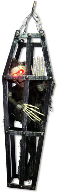 Skeleton in Cage Decoration with Led Eyes