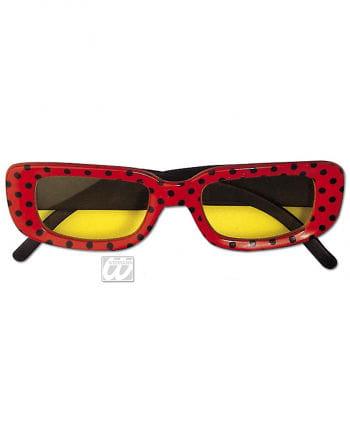 eckige Disco Brille rot mit Punkten