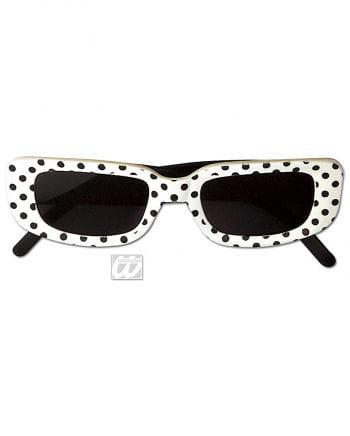 eckige Disco Brille weiß mit Punkten