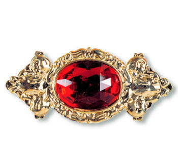 Elegant Giant Brooch with Red Gem