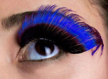 Gefederte Wimpern schwarz/blau