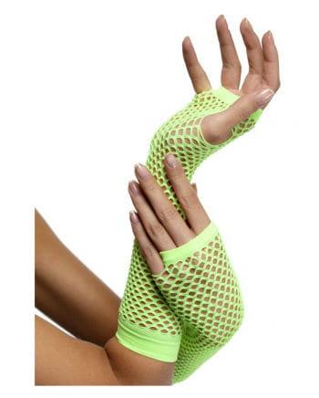 Fingerless fishnet gloves Neon green