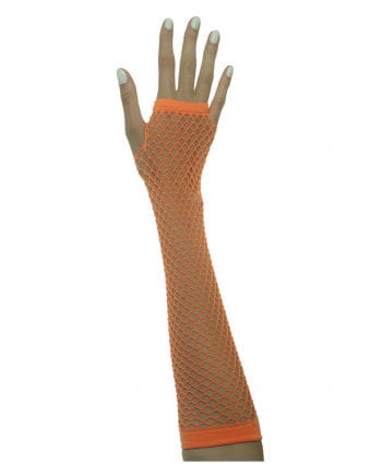 Fingerless fishnet gloves Neon Orange