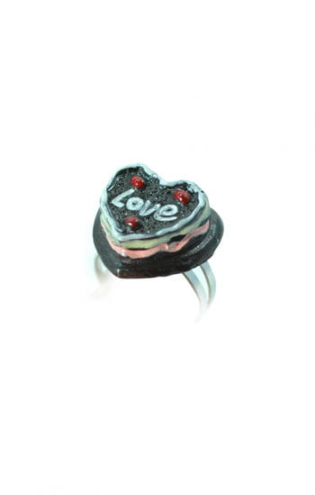 Children Jewelry Ring Chocolate Heart Cake