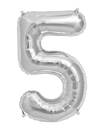 Foil Balloon Number 5 Silver