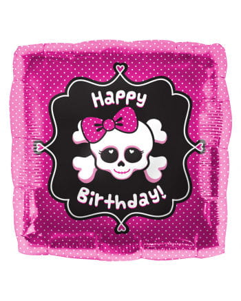 Folienballon Happy Birthday Skull