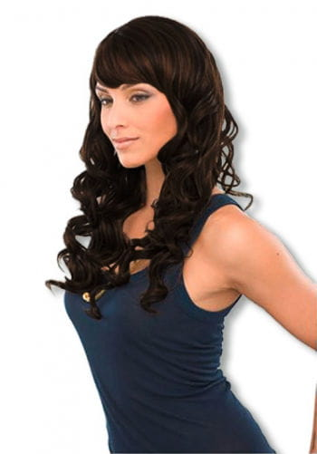 Glamorous curly long hair wig black brown