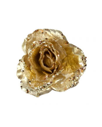 Glittering decoration Rose with Gold Clip