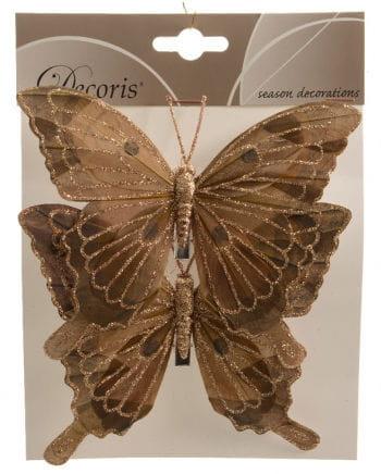 Glitter Butterflies Set of 2 14 cm brown