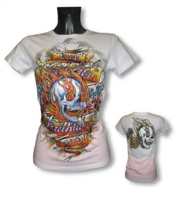 Skull and Flames Girls Shirt