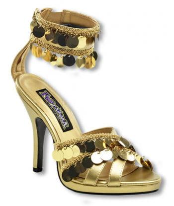 Goldene Sandaletten mit Fesselriemchen 37 UK 6 US 8