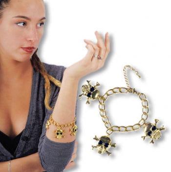 Golden Pirate Bracelet with Skulls