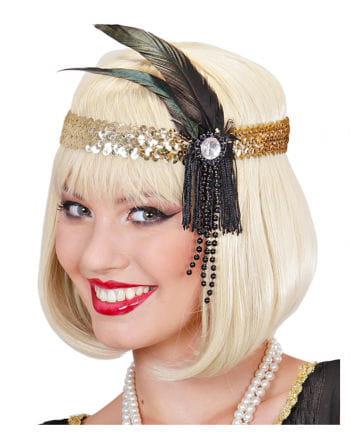 Flapper Stirnband Gold mit schwarzer Feder