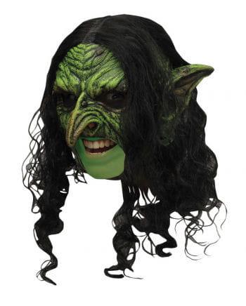 Grüne Hexen Maske mit Haaren