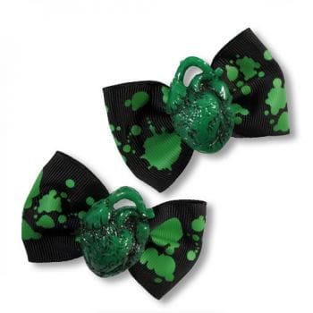 Horror Haarspange grünes Herz