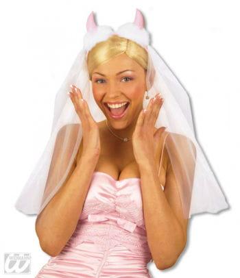 Brautschleier mit pinken Hörner