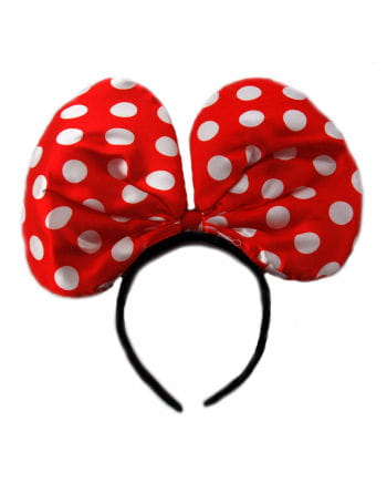 Headband with mouse ears red / white