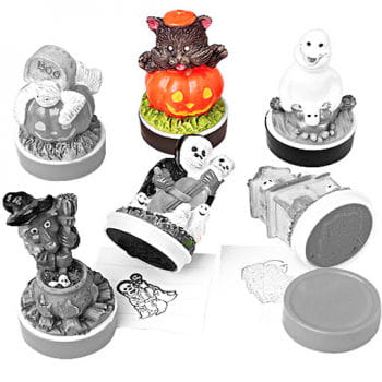 Halloween Rubber Stamp Pumpkin Cat