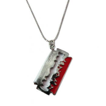 Necklace with pendant razor blade