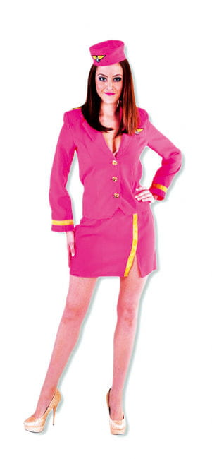 Hot Stewardess women costume pink