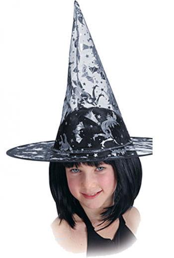 Hexenhut für Kinder Silberdruck