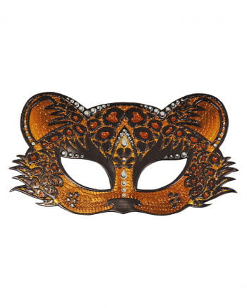 Leopard eye mask with rhinestones